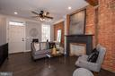 Living Room with exposed brick and beam - 165 B AND O AVE, FREDERICK