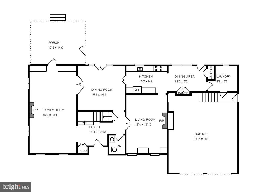 Main level floor plan. - 6951 GREENTREE RD, BETHESDA