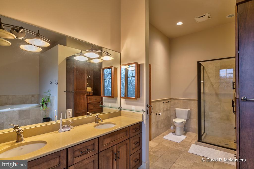 Custom cherry vanity w double sink Quartz counter - 212 CICADA DR, MARTINSBURG