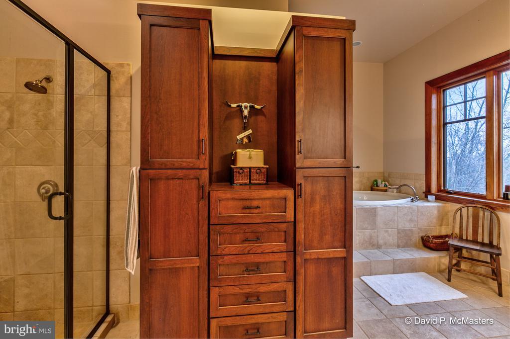 Master bath, , jacuzzi, w/cherry linen built in - 212 CICADA DR, MARTINSBURG
