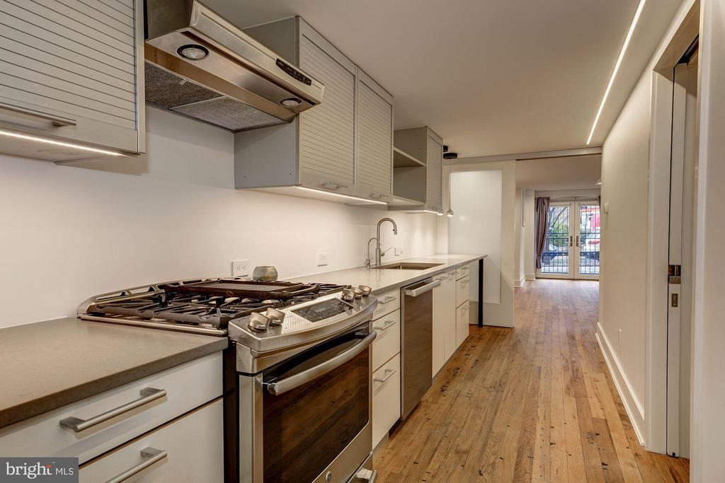 Lower Level Kitchen with Sub Zero Refrigerator - 2113 S ST NW, WASHINGTON