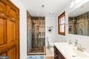 Master bath shower and vanity. - 115 GOLD RUSH DR, LOCUST GROVE