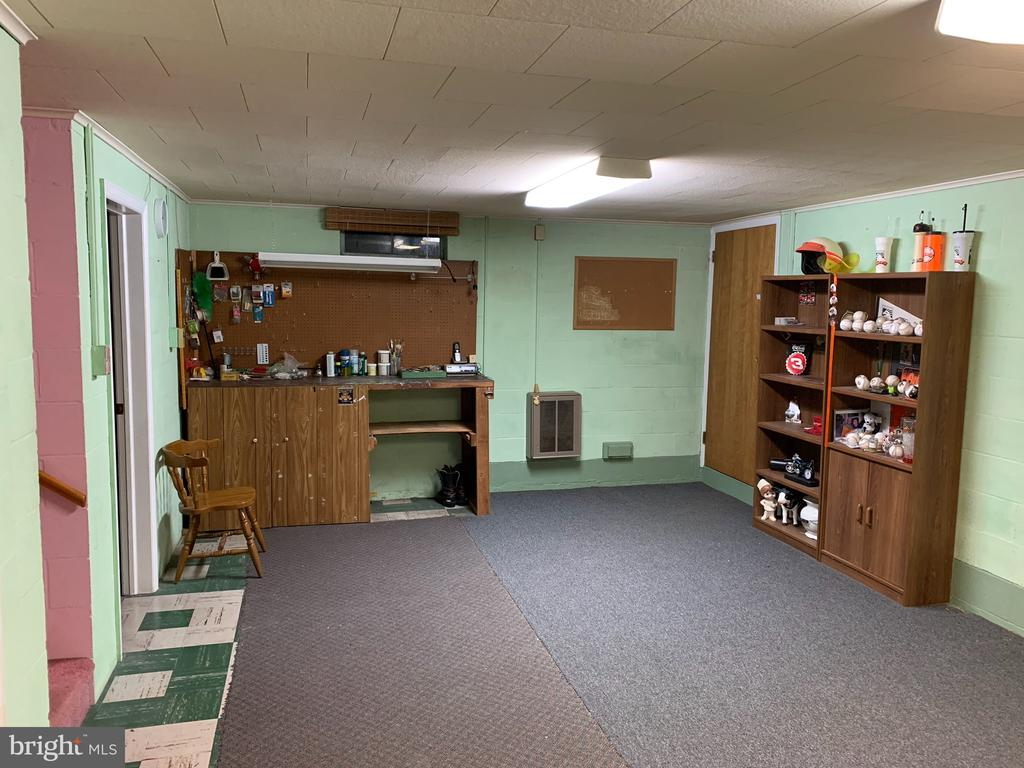 Basement Shop area with steps up to garage - 215 BROAD ST, MIDDLETOWN