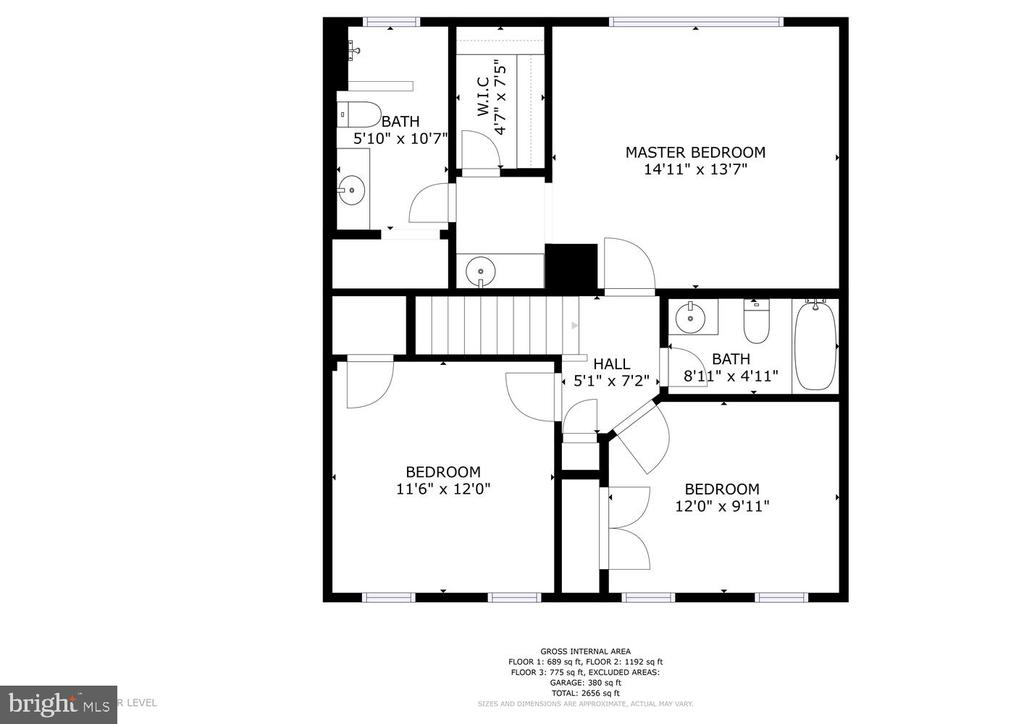 Upper level floor plan - 3220 TITANIC DR, STAFFORD