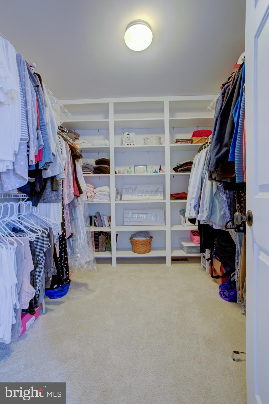 MBR Large walk in closet with shelving unit