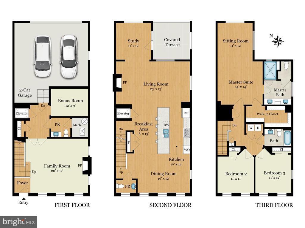 Three level floor plan. - 6103 OLIVET DR, ALEXANDRIA