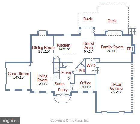 Main Level Floorplan - 1340 DASHER LN, RESTON