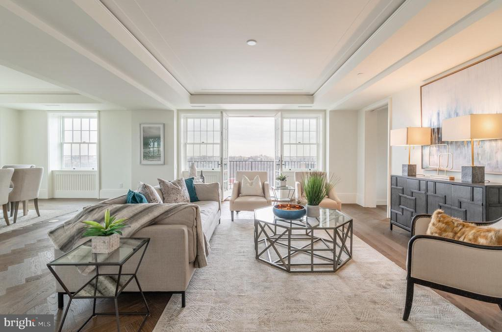 Sophisticated Living Area opens to Balcony - 2660 CONNECTICUT AVE NW #5C, WASHINGTON