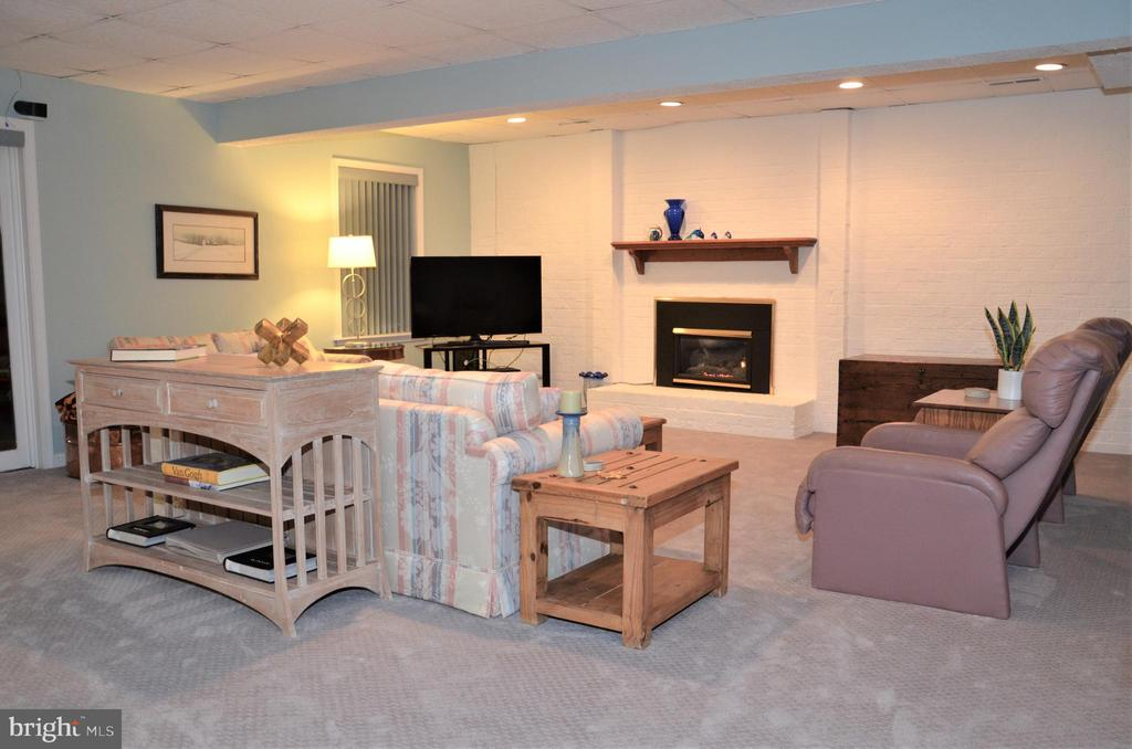 Lower level family room with 2nd gas fireplace - 5827 WESSEX LN, ALEXANDRIA