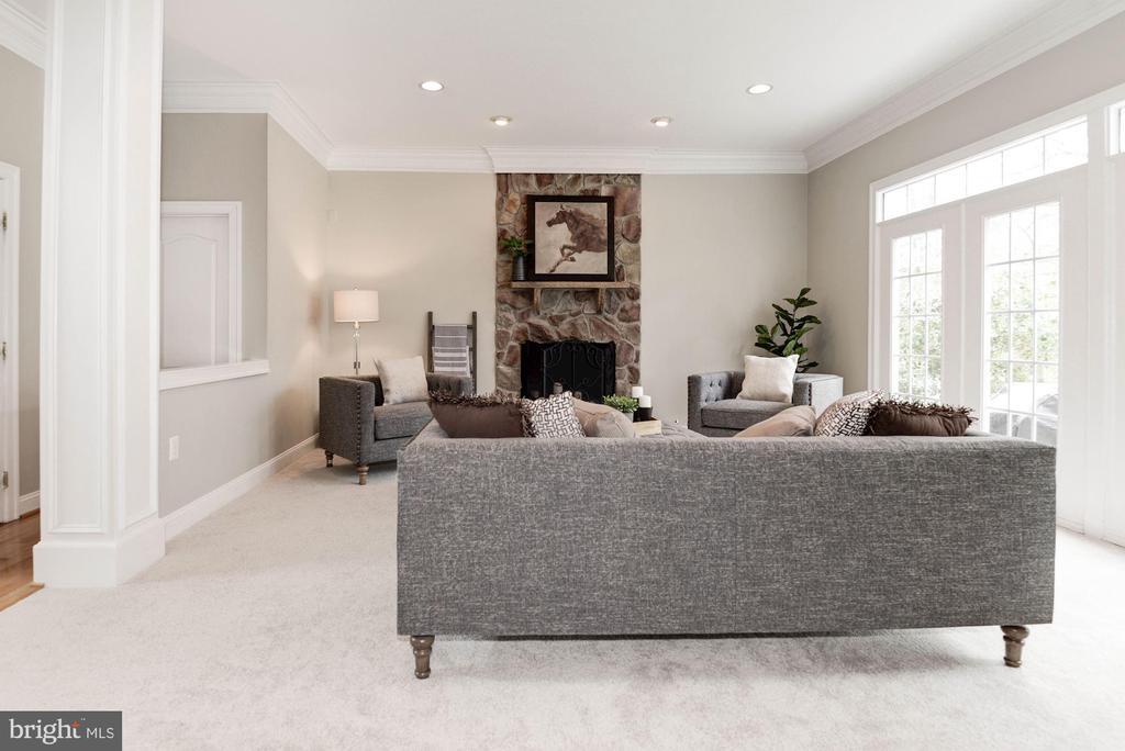 Family Room w/Stone Fireplace - 12184 HICKORY KNOLL PL, FAIRFAX