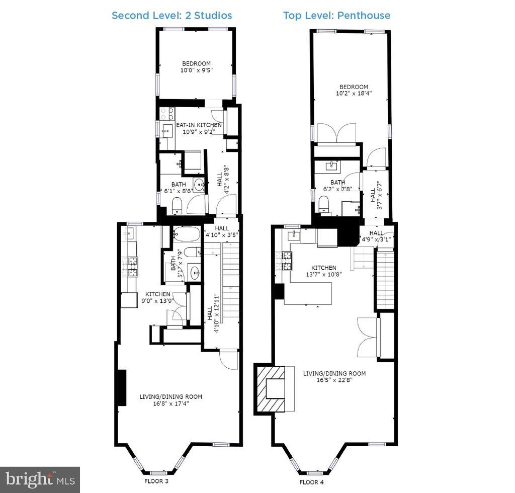 Floor Plans - Two Studios & Penthouse - 1932 15TH ST NW, WASHINGTON