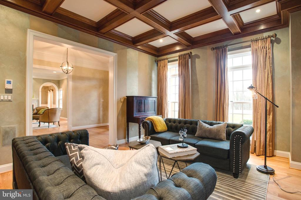 Coffered Library Ceiling. Easy Entertaining Flow - 9110 DARA LN, GREAT FALLS
