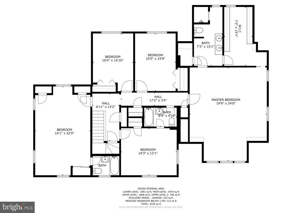 Floor plan -upper level - 7600 GLENDALE RD, CHEVY CHASE
