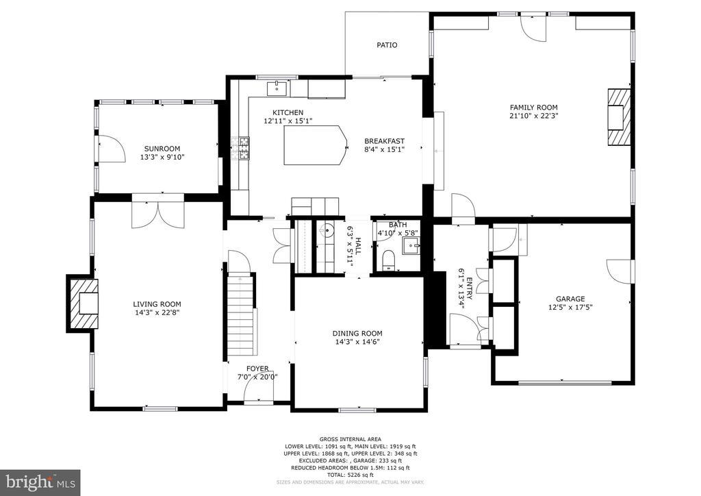 Floor plan - main level - 7600 GLENDALE RD, CHEVY CHASE