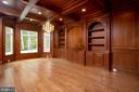 Study - library with custom cherry  wood cabinets. - 119 CLARKS RUN RD, GREAT FALLS