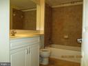 Tiled bathroom with soaking tub - 555 MASSACHUSETTS AVE NW #202, WASHINGTON