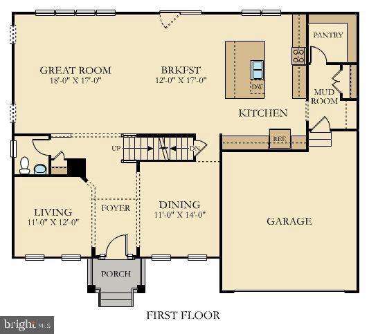 Diagram for first level living space - 6109 HUNT WEBER DR, CLINTON