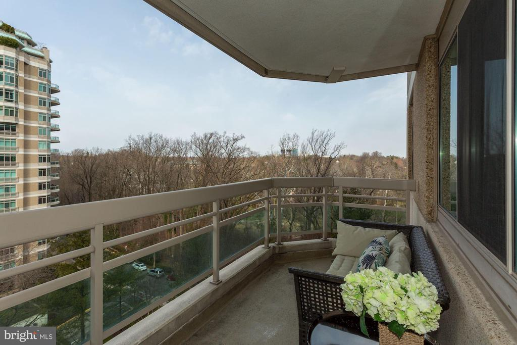 Balcony with beautiful tree views - 5600 WISCONSIN AVE #902, CHEVY CHASE
