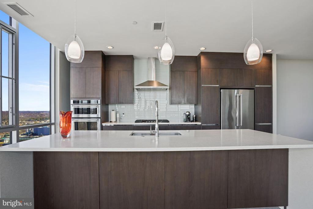 Sleek, gourmet chef's kitchen.  Cook with a view! - 930 ROSE AVE #PH2102, ROCKVILLE