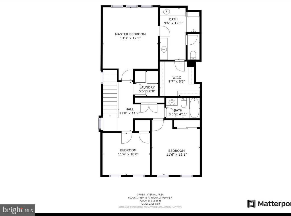 Upper level floor plan - 48 SURVEYORS WAY, STAFFORD
