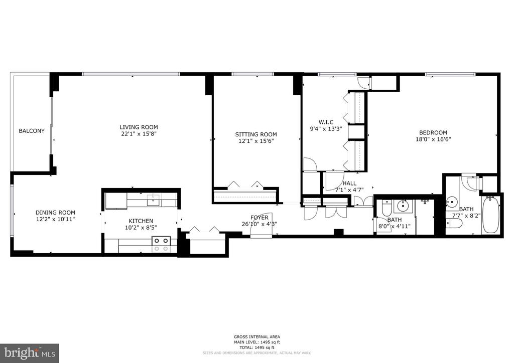 Floor Plan also available 3D - 5100 DORSET AVE #505, CHEVY CHASE
