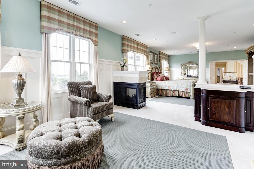 Master BR w/sitting area and see-through Fireplace - 14943 FINEGAN FARM DR, DARNESTOWN