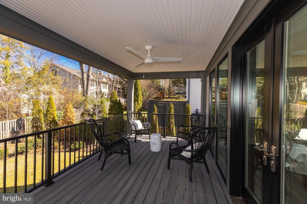 Large rear covered deck off family room - 4909 FALSTONE AVE, CHEVY CHASE