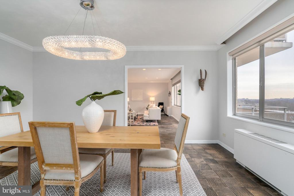 Dining room features crown molding - 2801 NEW MEXICO AVE NW #1122, WASHINGTON