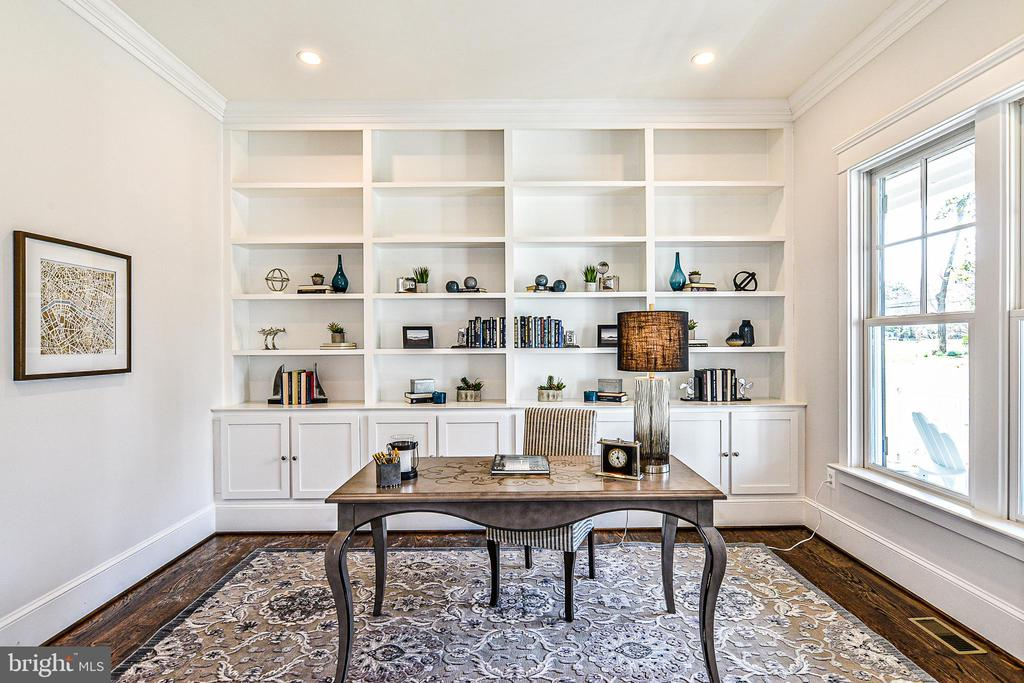 Glass French Doors & Built-in Bookcases in Office - 1867 BEULAH RD, VIENNA