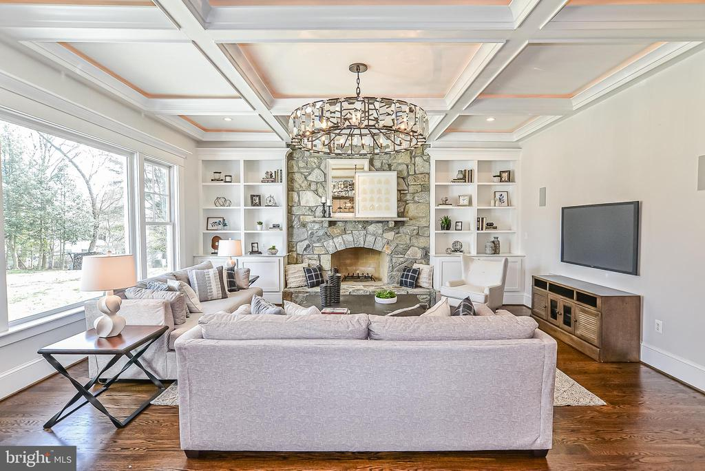 Natural Stone Fireplace & Built-in Bookcases - 1867 BEULAH RD, VIENNA