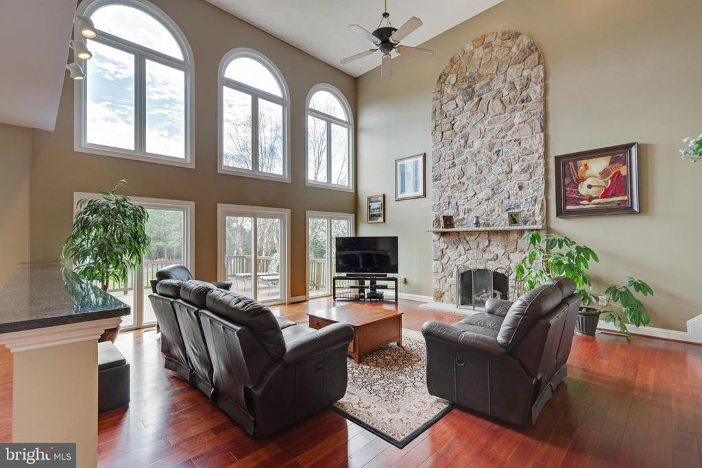 Bright Family Room with Floor to Ceiling Stone FP - 21946 HYDE PARK DR, ASHBURN