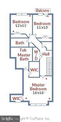 Upper Level Floor Plan - 1308 RIBBON LIMESTONE TER SE, LEESBURG