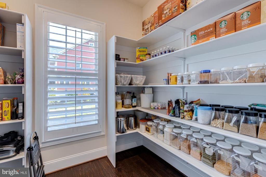 Large pantry with custom wood shelves & storage - 23065 CHAMBOURCIN PL, ASHBURN