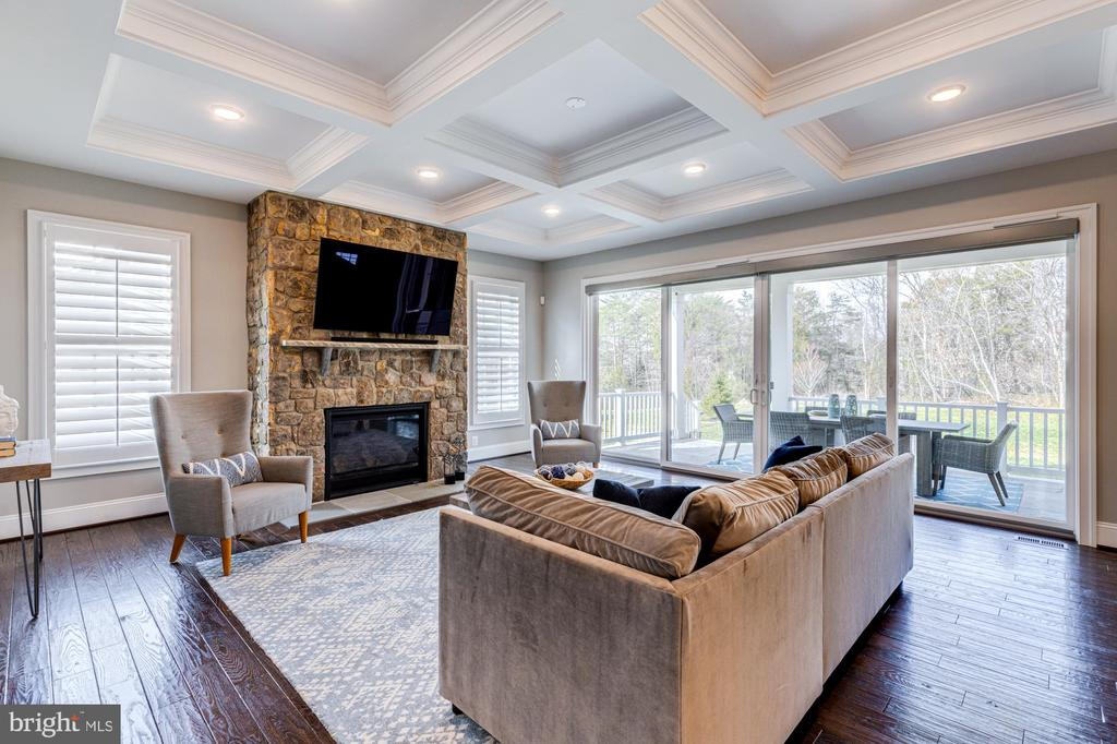 Hard wood floors & stone fireplace in family room - 23065 CHAMBOURCIN PL, ASHBURN
