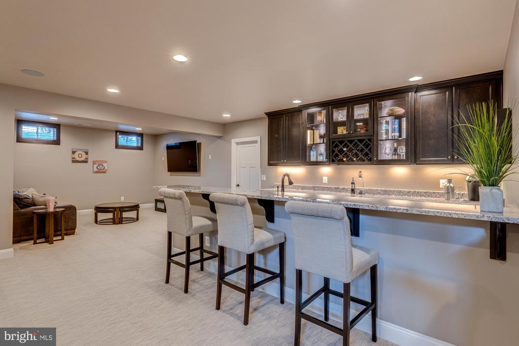 Fully equipped bar with sink and sitting ledge - 23065 CHAMBOURCIN PL, ASHBURN
