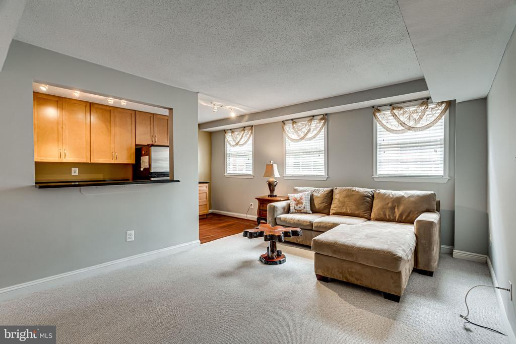 Spacious living room with peekaboo into kitchen - 1251 EAST ABINGDON DR, #1103, ALEXANDRIA