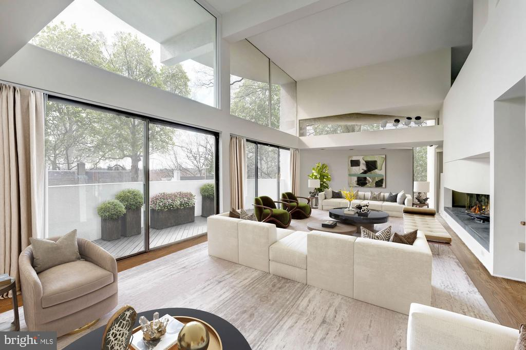 Living room with virtual staging - 5500 BROAD BRANCH RD NW, WASHINGTON