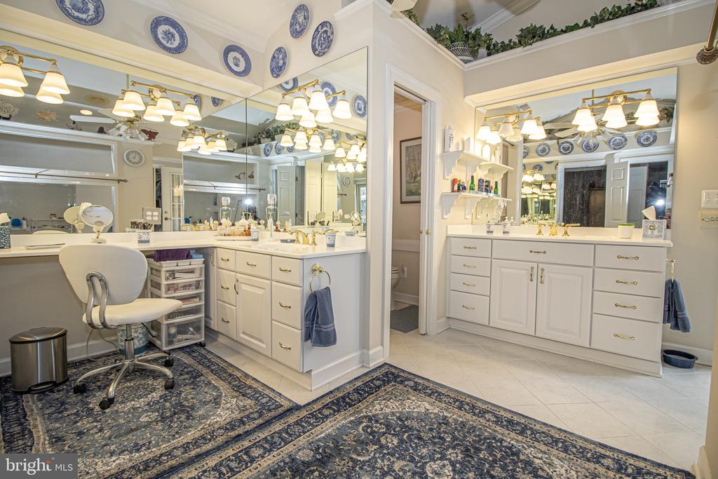 Main Level Master Bathroom with His/Her Vanities - 25282 KENNEBEC DR, CHANTILLY