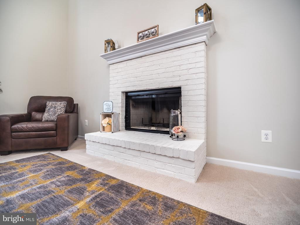 Family Room Wood burning fireplace - 43075 BARONS ST, CHANTILLY