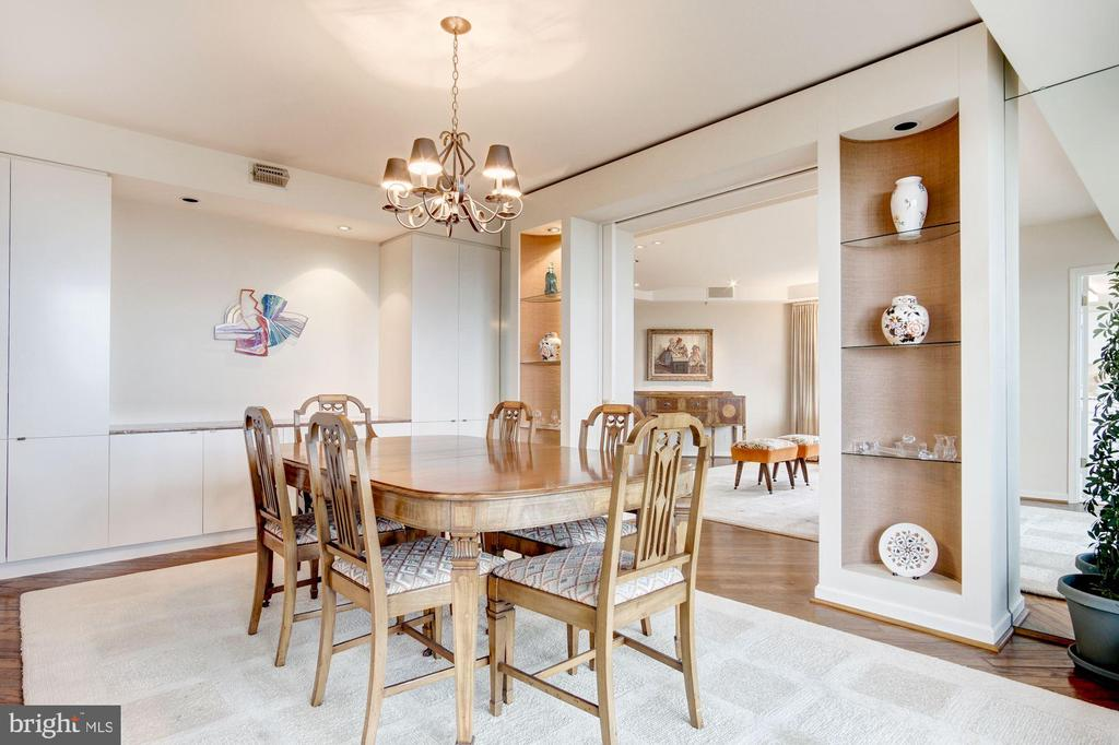 Dining room with built-in cabinets - 5600 WISCONSIN AVE #1408, CHEVY CHASE