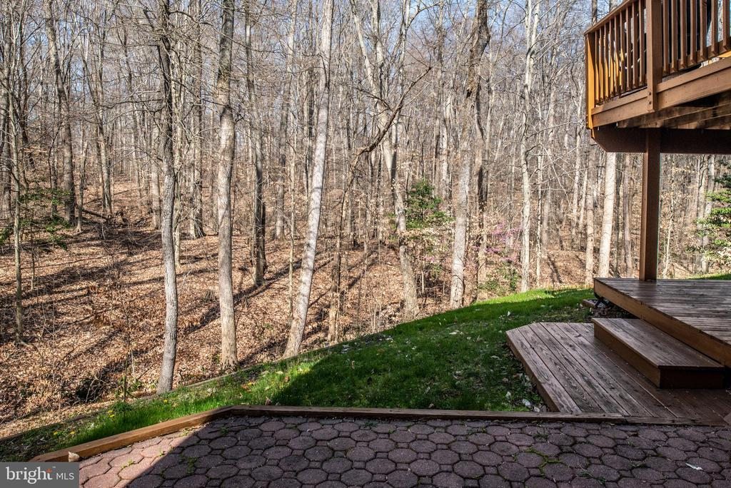 Backyard patio view of wooded areas - 28 FIREBERRY BLVD, STAFFORD