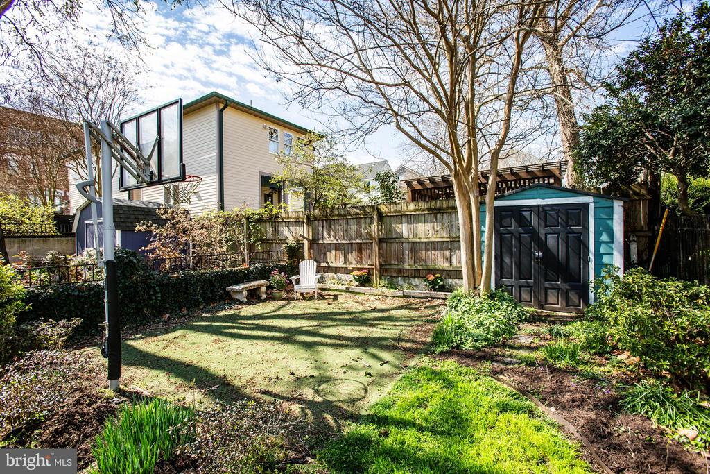 Shed and play area at the back of the lot. - 1104 PRINCE EDWARD ST, FREDERICKSBURG