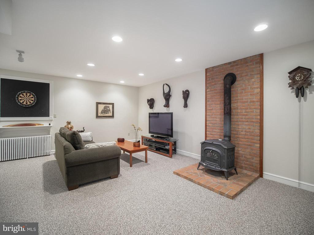 recreation room with Vermont Castings woodstove - 915 MCCENEY AVE, SILVER SPRING