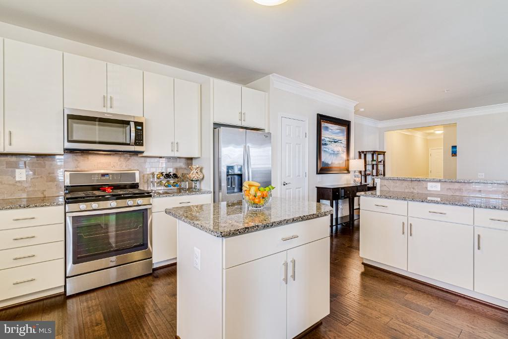 Stainless steel appliances and kitchen island. - 20570 HOPE SPRING TER #205, ASHBURN