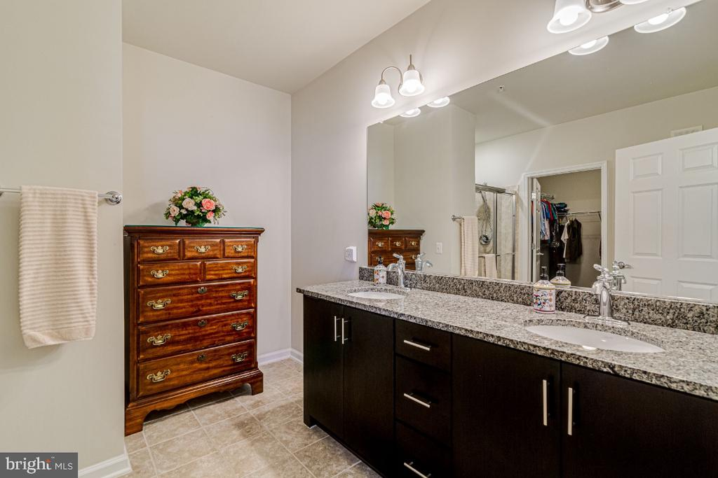 Master bathroom with double vanities. - 20570 HOPE SPRING TER #205, ASHBURN