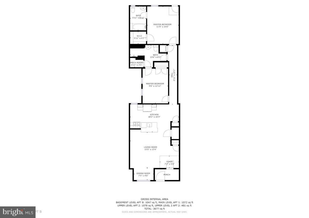 Floor Plan - Apt B - 1330 IRVING ST NW, WASHINGTON