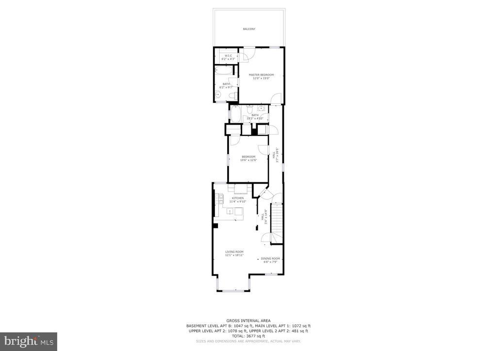 Floor Plan - Apt 2 Level 1 - 1330 IRVING ST NW, WASHINGTON