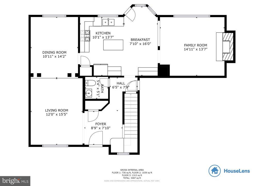 Main Level  Floor Plan - 3551 ESKEW CT, WOODBRIDGE