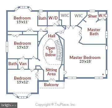 Upper Level Floorplan - 6308 MOUNTAIN BRANCH CT, BETHESDA