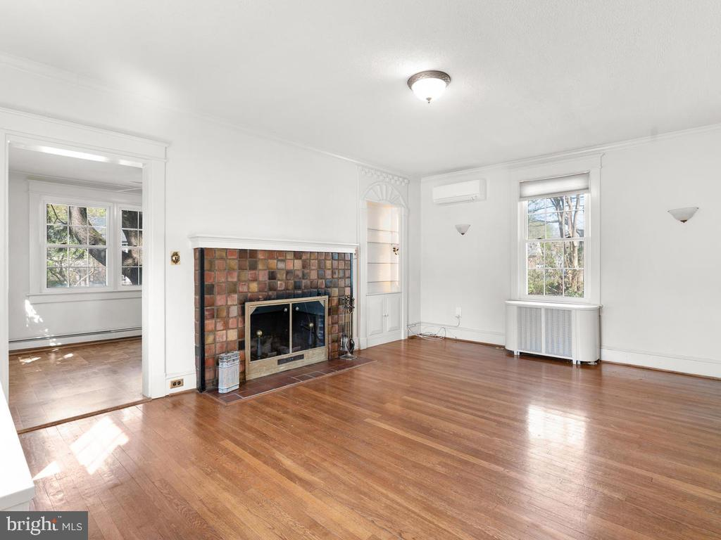 Living Room, Wood Burning Fireplace - 4207 STANFORD ST, CHEVY CHASE